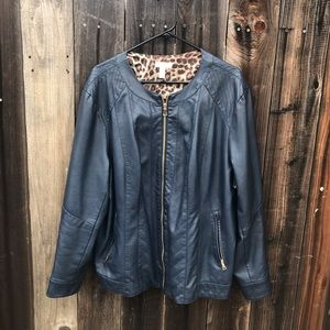 Charter Club Faux Leather Blue Jacket